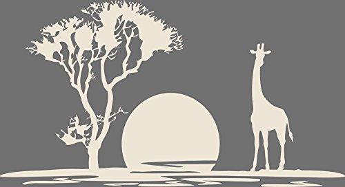 GRAZDesign 630186_40_816 Wandtattoo Sonnenuntergang mit Giraffe und Baum Afrika Afrikanisch Wanddeko deko (74x40cm // 816 Antique White)