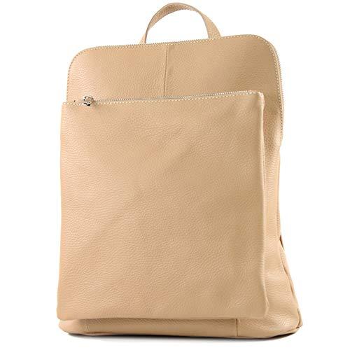 modamoda de - T141 - ital Damen Rucksacktasche 3in1 aus Leder, Farbe:Beige