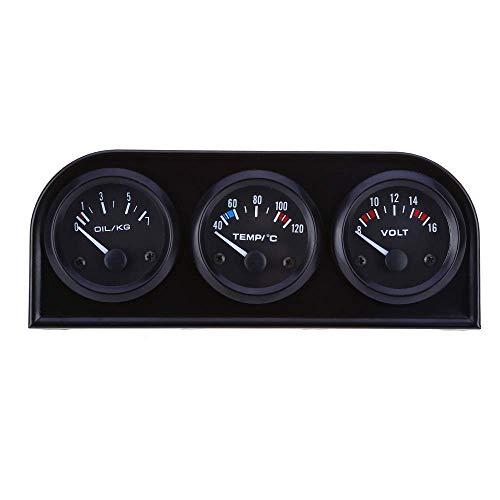 YIONGA Panel de Instrumentos CAIJINJIN En los 52MM 3 manómetro 1 Car Auto voltímetro de Agua de presión de Aceite del Sensor de Temperatura Triple Kit for el Coche del Carro del Barco Automotor