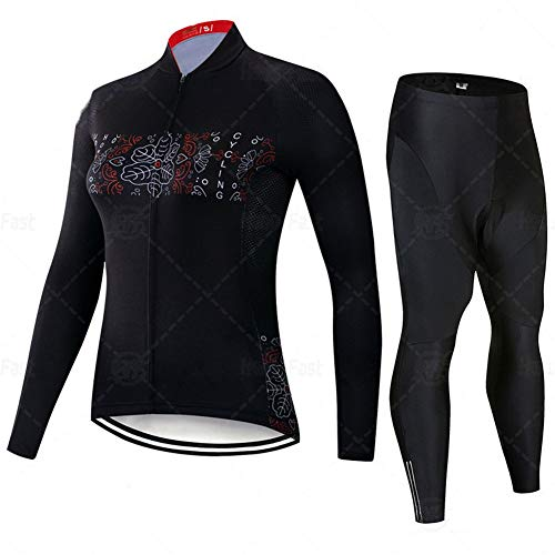 Classic Bicycle Sportswear - Jerseys de Ciclismo for Mujeres de Manga Larga Pro Racing Club Black, Bicicleta de Carretera al Aire Libre Anti-UV MTB MTB Trajes de Ciclismo