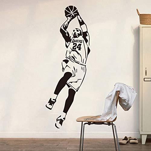 NBA Basketball Sports Star Player Kobe Bryant # 24 Fadeaway Jump-Shot Etiqueta de la pared Vinilo Calcomanía para autos Boy Fans Dormitorio Sala de estar Club Decoración para el hogar Mural