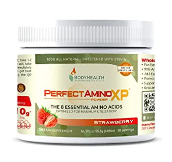 BodyHealth PerfectAmino XP Strawberry  30 Serving  Best Pre/Post Workout Recovery Drink 8 Essential Amino Acids Energy Supplement with 50% BCAAs 100% Organic 99% Utilization