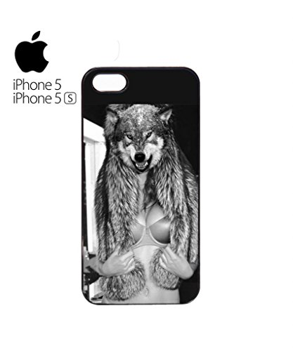 Perky Clothing Wolf Head Naked Boobs Sexy Women Funny Hipster Swag Mobile Phone Case Back Cover Coque Housse Etui Noir Blanc pour for iPhone 5&5s Black