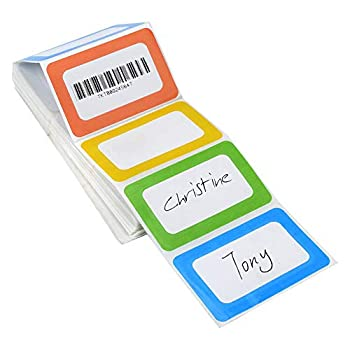 Name Tag Labels 200PCS Plain Nametag Stickers Colorful Border Name Tag Labels School Office Party Stickers