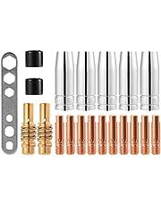 CESFONJER MIG/MAG slijtageonderdelen set geschikt voor MB15 draaddiameter 0,8 mm | 20 delen | 5 x gasmondstuk | 2 x mondstuk | 10 x mondstuk M6 0,8 mm | 2 x isolator | 1 x gereedschap