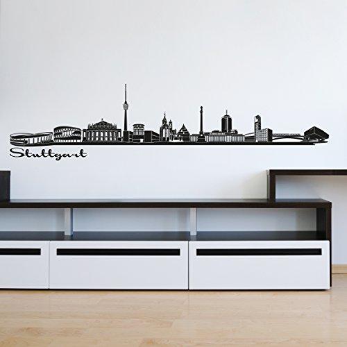 Wandkings Skyline - Deine Stadt wählbar - Stuttgart - 125 x 24 cm - Wandaufkleber Wandsticker Wandtattoo