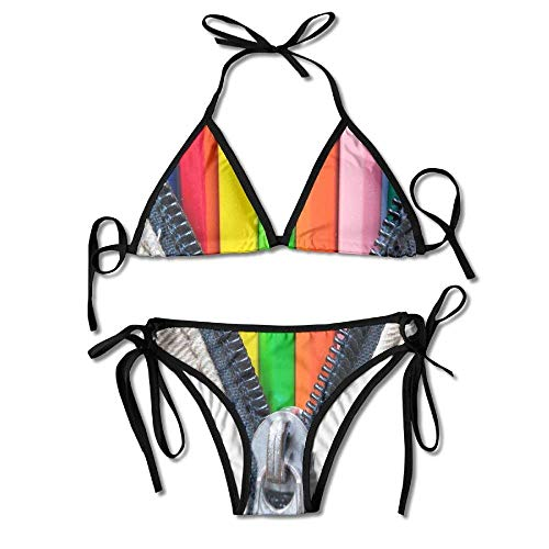 Sexy Triangle Bathing Two Pieces Pencil Bag Colored Texture Rainbow Ladies Summer Beach Outfit Bikini Two-Piece Swimsuit