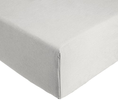AmazonBasics Everyday - Sábana bajera ajustable (100% algodón) Gris claro - 180 x 200 x 30 cm