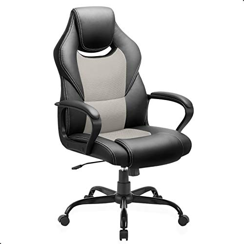 BASETBL Bürostuhl Racing Stuhl Gaming Stuhl Sessel Schreibtischstuhl Ergonomisch Drehstuhl Sportsitz bürostuhl mit Rückenlehne, Wippfunktion, Höhenverstellung, gepolsterter Armlehne Chefsessel Grau