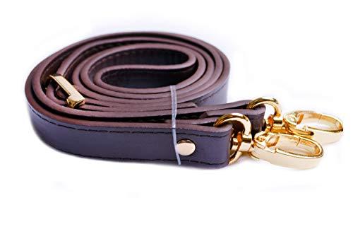 Wento 1pcs 43''-49'' Dark Brown Faux Leather Straps Adjustable Bag Strap,Soft Vinyl Leather Shoulder Straps,Replacement Cross Body Purse Straps,Handbag Bag Wallet Straps (Gold)…