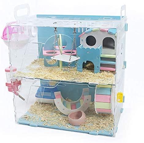 Cakunmik Paquete de Doble Villa de Jaula de hámster Adicional, Nids Toy Supplies es la Jaula Rosa Rosa Chalet Hamster Ideal para escaleras