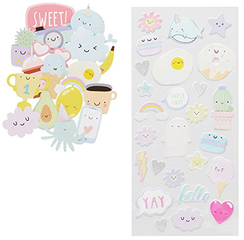 LaurDIY Kawaii Puffy and Die Cut Cute Stickers for Decorating, 44pc