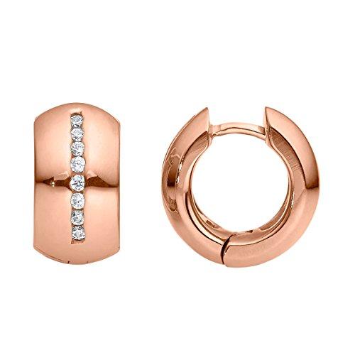 Heideman Ohrringe Damen Lines aus Edelstahl rosegold farbend matt Ohrstecker für Frauen mit Stein Zirkonia weiss rund 1,5mm