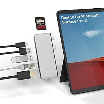 Surface Pro X Hub Docking Station 7-in-2 Converter Adaptor with 4K HDMI +1000 Mbps Gigabit Ethernet LAN+ USB C Audio & Data Transfer Port +2 USB 3.0 +SD/TF Card Reader for Microsoft Surface Pro X