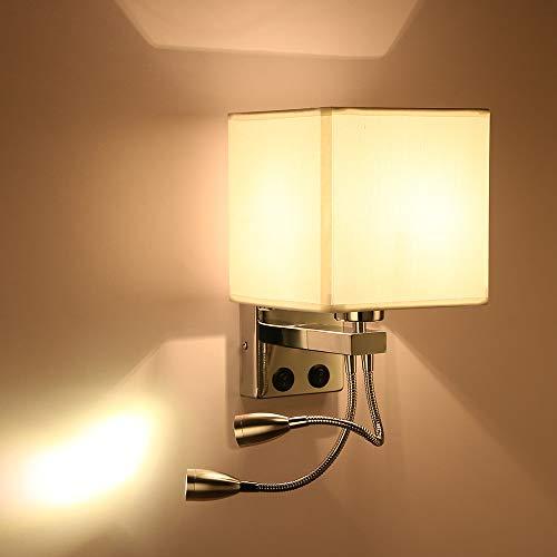 ALLOMN Luz de la Mesilla de Noche, Lámpara de Pared de Lectura LED Lámpara de Pared Moderna con Foco de Cuello de Cisne Ajustable, Interruptores Dobles Con Puerto USB para Cargar E27 (Dos Luces 1 PC)
