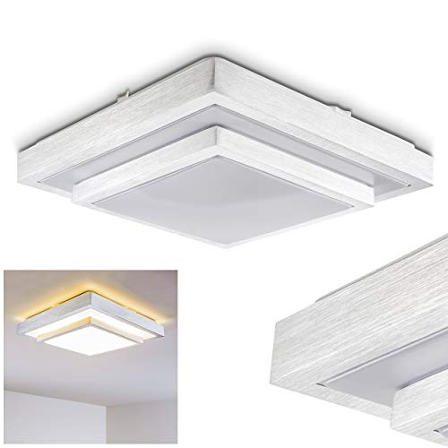 LED Deckenleuchte Sora, eckige Deckenlampe aus Metall in Stahl gebürstet, 2-stöckig, 24 Watt, Lichtfarbe 3000 Kelvin (warmweiß), IP 44, auch für das Badezimmer geeignet