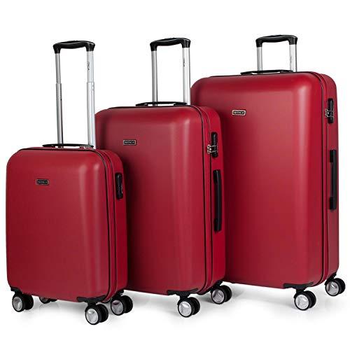 ITACA - Juego Maletas de Viaje Rígidas 4 Ruedas Trolley 55/66/76 cm abs. Duras Cómodas y Ligeras. Candado. Pequeña Cabina 55x40x20, Mediana y Grande XL. T58000, Color Rojo