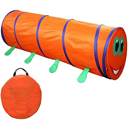 LITI Pop-Up Kinder Kriechtunnel Blau Spieltunnel Krabbeltunnel 180cm mit Tasche