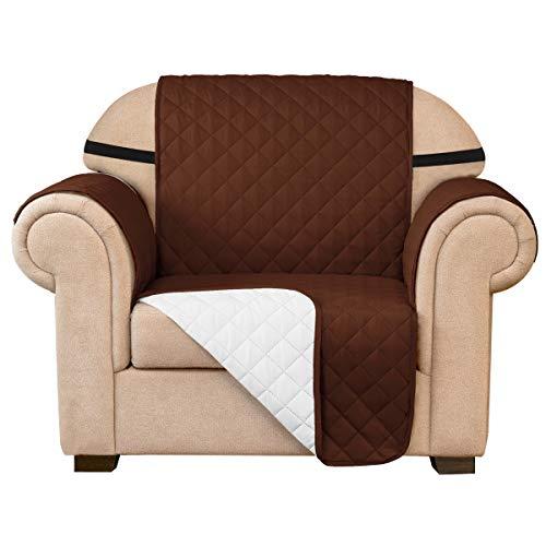 subrtex Gesteppt Sofabezug Reversibel Möbelschutz mit Gummiband Stuhlüberzüge für Wohnzimmer Sessel Schonbezüge Möbelschoner für Sofas(1 Sitzer, Kaffee)