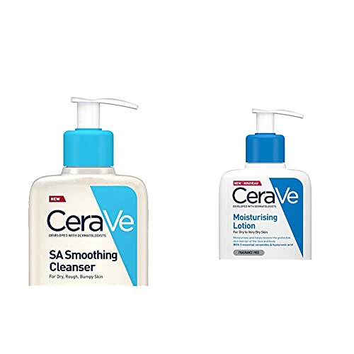 CeraVe SA Smoothing Cleanser | 236ml/8oz | Face and Body Wash with Salicylic Acid & Moisturising Lotion | 236ml/8oz | Daily Face & Body Moisturiser for Dry to Very Dry Skin