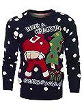 Neuf pour homme Santa Crackin 3D Pull Noël, tailles S M l XL - Marine Crackin Santa, Small