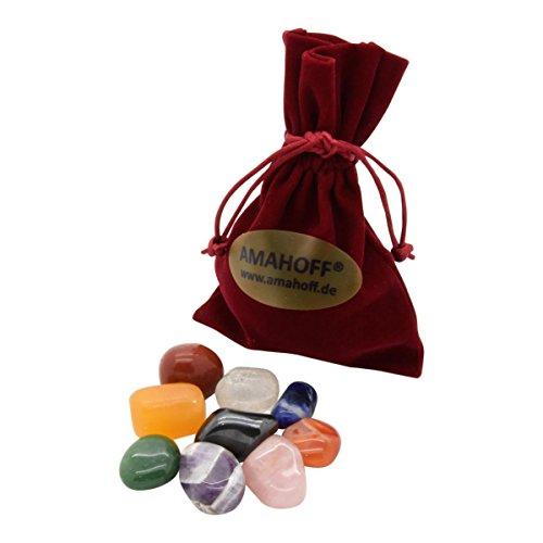 Heilsteine Set (9 Stück) - 2-3cm große Edelsteine - optimal für Starter - inklusive Samtsack und Beschreibung