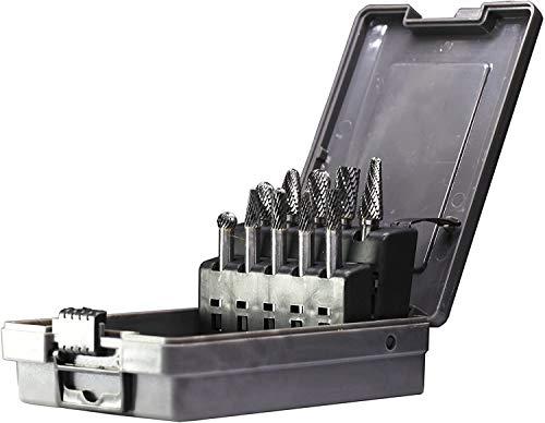 YUFUTOL Carbide Burrs Set 10pcs Double Cut Solid Carbide Rotary Burr Set 1/4