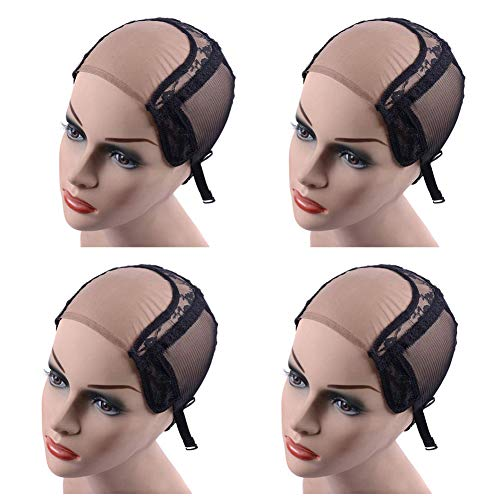 Neobeauty 4X4 Lace Wig Cap for Making Wigs 4 Pack U Part Wig Breathable Lace Mesh Cap with Adjustable Strap (4X4inch)