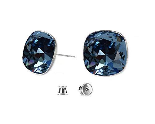 Crystals & Stones *VIELE FARBEN* Silber 925 *SQUARE* - Ohrstecker mit Kristallen von Swarovski® - Schön Ohrringe Damen Ohrstecker - Wunderbare Ohrringe mit Schmuckbox (Denim Blue)