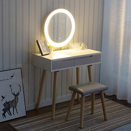 YU YUSING Tocador de Maquillaje con luz, 2 cajones, Organizador extraíble, Mesa cosmética con Taburete tapizado, para Dormitorio, vestidor,Moderno, Espejo Redondo