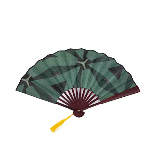Lajro Japanese Fans Wall Decor Romantic Elegant Retro Jade Green with Bamboo Frame Tassel Pendant and Cloth Bag Chinese Fan Decor Portable Hand Fan Chinese Fan Decoration