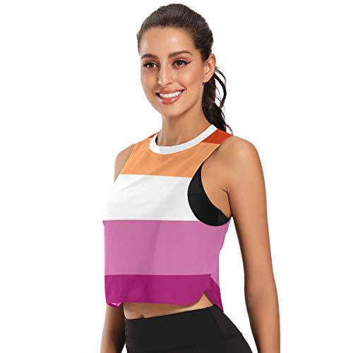 Women's Sports Bra Crop Top Workout Shirts Lesbian Flag Fitness Running Gym Yoga Tank Top