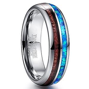 NUNCAD 6mm Herren Damen Ring mit Blau Opal Koa Holz aus Wolframcarbid Unisex Partner Wolfram Ringe Größe 56(17.8)