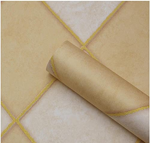 Papel de Pared 3D Azulejos de imitación de mármol-amarillo Papel pintado tejido no tejido Papel de para Fondo de TV Elegante Moderno Fine Decor 0.53m x 9.5m