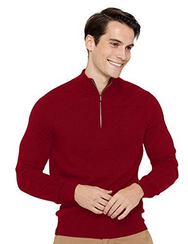 State Cashmere Half Zip Mock Neck Pullover 100% Pure Cashmere Polo Neck Sweater (Small, Burgundy)