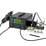Vogvigo 750W 100-450 ℃ Estación de Soldadura Digital de Aire Caliente de Temperatura Ajustable con Pantalla LED 2 en 1 para Soldador 0-99 Minutos Función de Ajuste del Temporizador de Apagado