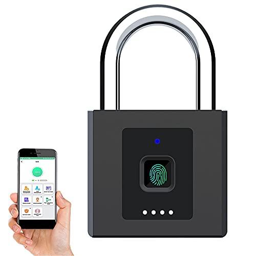 eLinkSmart Fingerabdruck Vorhängeschloss, Öffnen per Fingerabdruck oder App, Keyless Big Schweres Vorhängeschloss, Datensatz freischalten, Wasserdicht, Diebstahlsicherung, Batterieanzeige, USB