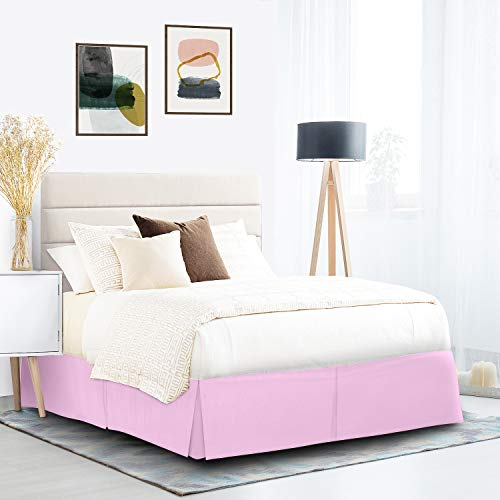 """Pleated Bed Skirt, Wrap Around Bed Skirt, Easy Fit 14"""" Inch Bed Skirt, Soft Double Brushed Premium Microfiber Ruffle Bed Skirt, Luxury Bedskirt, Hotel Quality Dust Ruffle, Queen Bed Skirt Lilac"""