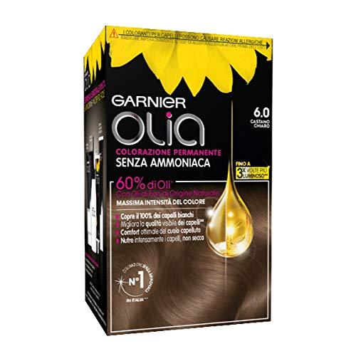 Garnier Colorazione Permanente Olia, senza Ammoniaca, con Oli di Fiori di Origine Naturale, Castano...