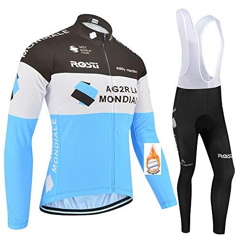 SUHINFE Maillot de Cyclisme en Molleton Thermique pour Hommes, Cuissard à Manches Longues pour vêtements de vélo avec rembourré 3D