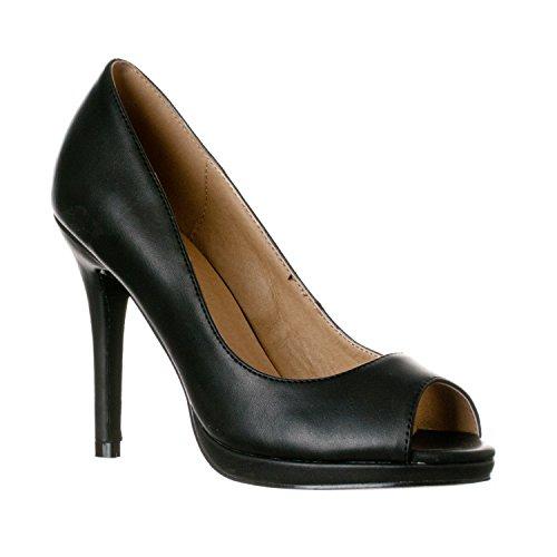 Riverberry Women's Julia Slight Platform Open Toe High Heel Pumps, Black PU, 7.5