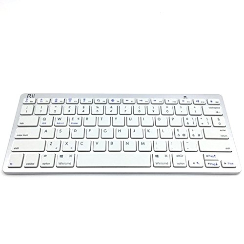 Rii BT09 Bluetooth (Layout Italiano) - Tastiera Ultra Sottile per Tablet, Smartphone, Mini PC, Computer, Playstation - Colore Bianco