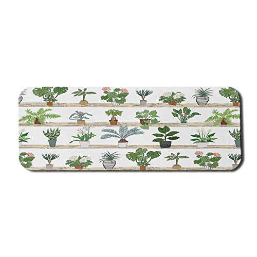 Geranium Computer Mouse Pad, Botanisches Thema mit Aloe Zimmerpflanzen Spinnenpflanze Dragon Tree Calathea, Rechteck rutschfestes Gummi-Mauspad Groß Mehrfarbig