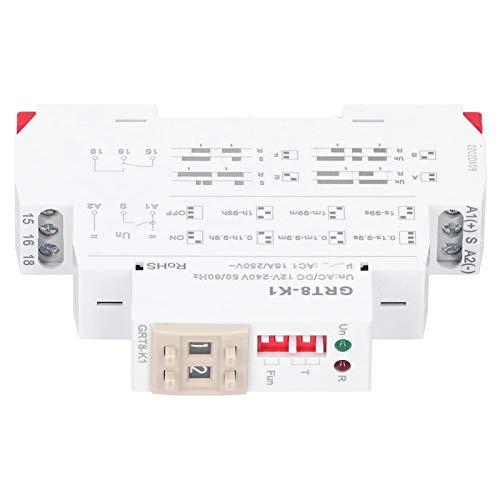 Relé de tiempo de 4 modos de retardo, GRT8-K1 AC/DC 12V-240V 50 / 60HZ Interruptor de temporizador de retardo Componentes electrónicos digitales