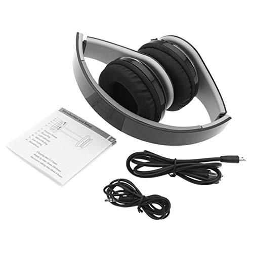 MARSPOWER Cuffie Bluetooth Over-Ear, Cuffie stereo wireless pieghevoli con microfono e controllo del volume per telefono TV Computer portatile - Nero