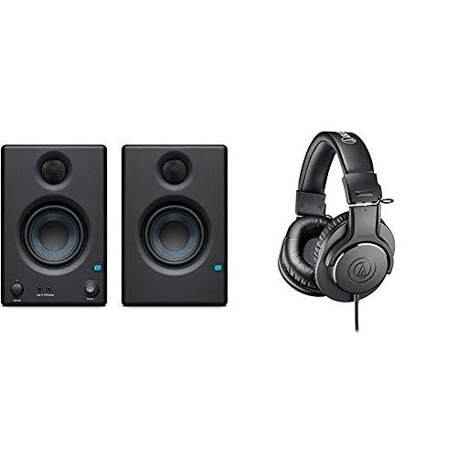 "Presonus Eris E3.5-3.5"" Near Field Studio Monitor (Pair) (E3.5) & Audio-Technica ATH-M20x Professional Studio Monitor Headphones, Black"