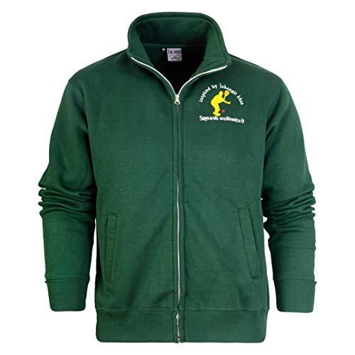 Bamu - Sudadera con capucha y cordón para hombre, diseño de Londres y bandera de Londres, con cierre completo Squash Zipp - Chaqueta con cremallera, color verde M