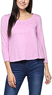 AMERICAN CREW Women's 3/4th Sleeves Boat Neck Top