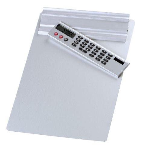 Wedo 57954 Klemmbrett A4, Alumnium Schreibplatte, abnehmbarer Solar Taschenrechner, Aufhängemöglichkeit, silber