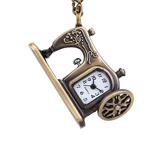 新しい ヴィンテージパーソナリティブロンズ小型ミシン懐中時計子供用ミシン懐中時計ネックレスギフト Yang (Color : Bronze)